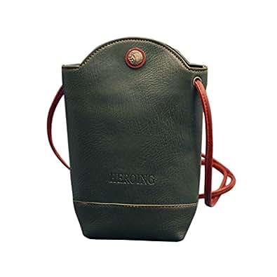HCFKJ Fashion Pu Leather Women Crossbody Shoulder Bag Solid Diagonal Bucket bag Ladies Packet Magnetic Buckle Shoulder Schoolbags Small (Green)