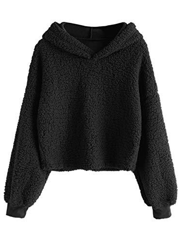 ZAFUL Damen Kapuzenpullover Flauschiger Hoodie Teddy-Fleece Pullover Sweatshirt mit Kapuze Schwarz L Size -