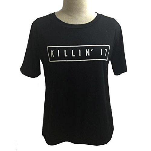 Yogogo Frauen-Sommer-Rundhalsausschnitt -Buchstabe -Drucken Kurzarm Baumwolle Bluse Tops T-Shirt Schwarz