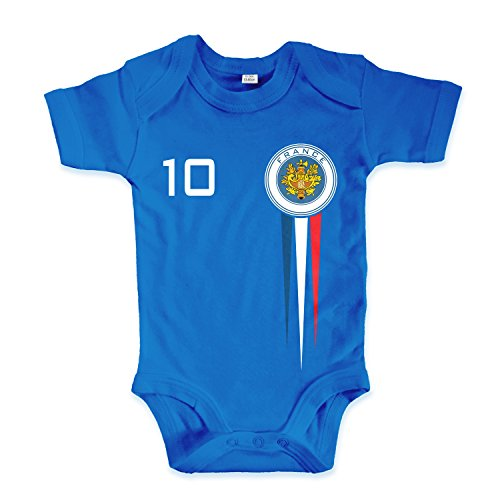 net-shirts Organic Baby Body mit France Frankreich Trikot Aufdruck Fußball Fan WM EM Strampler - Spielernummer wählbar, Größe 03-06 Monate-Spielernummer 10