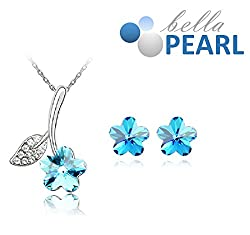 Bella Pearl Designer Flower Crystal Pendent and Earrings Necklace with Best Offer For Girls and Womens.