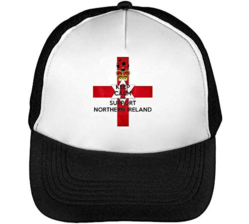 1GD Keep Calm Support Northern Ireland Men's Baseball Trucker Cap Hat Snapback Black White