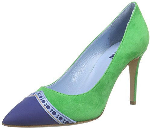 Pollini - Scarpad.princess85 Cam.ver/Bt-az-oc, Scarpe col tacco Donna Mehrfarbig (85A GREEN SUEDE-BLUETTE-LIGHT BLUE-OCHRE PVC)