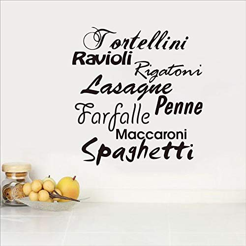 Crjzty Wall sticker Pasta Kitchen Tagliatelle Italian Language Vinyl Wall Stickers For Dining Room Kitchen Decoration 37 * 34cm