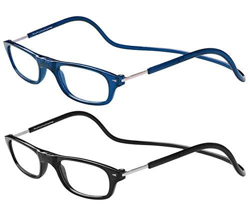 TBOC® Pack: Lesebrille Lesehilfe für Herren und Damen – (Zwei Einheiten) Dioptrien +1.50 Blau und Schwarz Fassung Brillen mit Stärke für PC Handy Faltbare Einstellbare Trend für Frauen Männer Senioren mit Magnetverschluss und Clip für Alterssichtigkeit und Presbyopie