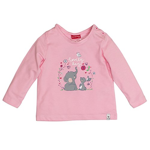 SALT AND PEPPER Baby-Mädchen Langarmshirt B Longsleeve Lovely Uni Print Rosa (Powder Rose 808), 86