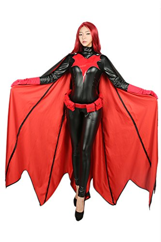 Halloween Cosplay Kostüm Damen PU Overall Cape mit Maske Gürtel Zubehör für Erwachsene Verrücktes Kleid Kleidung (2017 Kostüme Halloween Catwoman)