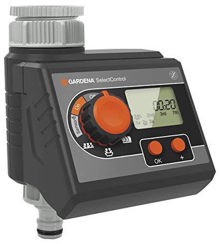 GARDENA Bewässerungsprogramm SelectControl: automatische Bewässerungssteuerung, 5 Programmieroptionen, Batteriebetrieb, kompatibel mit allen GARDENA Bewässerungssystemen (1885-20) (Sprinkler-smart)
