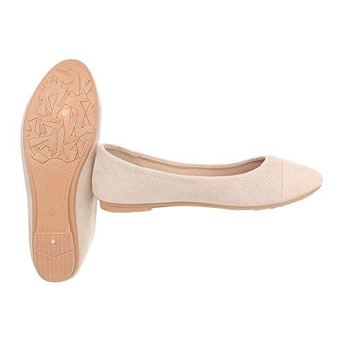 Ital-Design Scarpe da Donna Ballerine Tacco a Blocco Ballerine Classiche beige B989H-BL