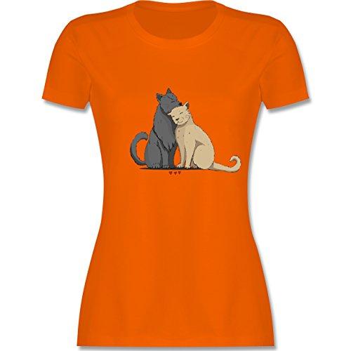 Katzen - kuschelnde Katzen - tailliertes Premium T-Shirt mit Rundhalsausschnitt für Damen Orange