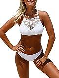 Ocean Plus Damen Spitze X-Back Bikini Set Hochgeschlossen Zweiteiliger Tankini Bademode (M (EU 34-36), X-Back Weiß)
