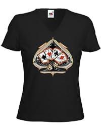 Hot Rod femme T-Shirt Poker Rockabilly Tattoo Ace of Spades Rat Rod