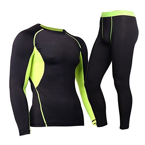Herren Funktionswäsche Trainingsanzug - Juleya Thermo-Unterwäsche Set kompressions T Shirt Tops&Leggings Base Layer Basic Unterwäsche...