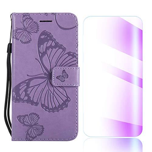The Grafu Galaxy S8 Plus Hülle, PU Leder Hülle mit Frei Hartglas Displayschutz, Schmetterling Muster [Standfunktion] [Kartenfach] Schutzhülle für Samsung Galaxy S8 Plus, Violett
