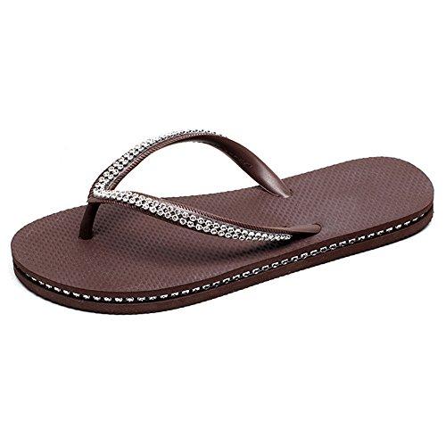 ZHIRONG Mode anti-dérapant sandales femme Summer Drill foreuse Flat Bottom pantoufles sandales imperméables