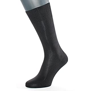 ALBERT KREUZ men's black luxury business calf socks of 98% silk – Made in Germany EU 42-44/UK 8-10