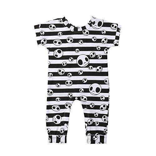 Weißen Mit Streifen Und Schwarzen Kostüm - Lomelomme Halloween Baby Kostüm Overall mit Streifen Unisex Skelett Kostüm Strampler Junge Bodies Baby Jungen Kurzarm Baby Mädchen Halloween Party Schlafanzug Set