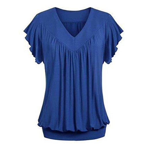 Overdose Frauen Plus Größe Lose V-Ausschnitt Kurzarm Solid Farbe Tops Plissee Bluse T-Shirt Damen Sommer Tops Oberteile(Blue,L)