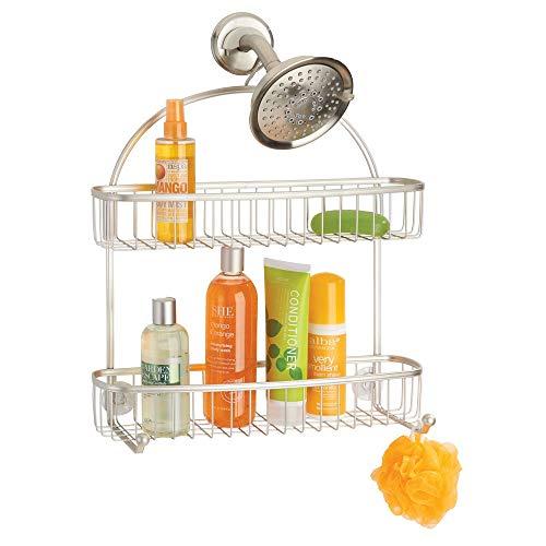 mDesign Duschablage zum Hängen - praktisches Duschregal ohne Bohren - 1 großer und 1 kleiner Duschkorb und 2 Haken aus Metall - mattsilberfarben