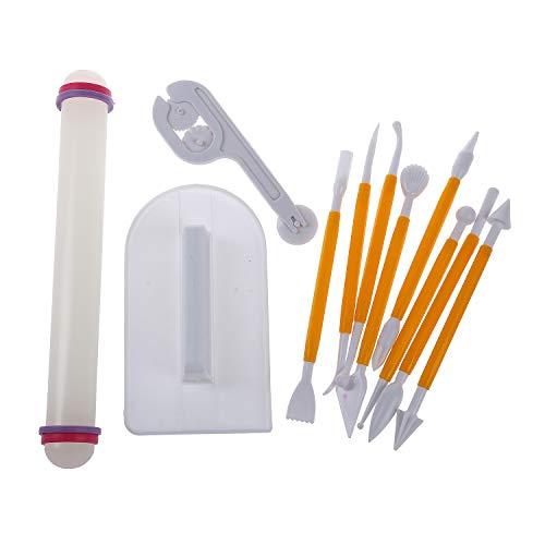 REFURBISHHOUSE 4 Sets (11pcs) Sugarcraft Zuckerglasur-Fondant-Kuchen-Polierer Cutter Embosser Rolling Pin Modeling Tool Kit Set Rolling Pin Cutter