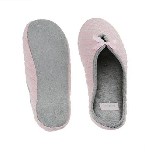 Fortuning's JDS Signore delle donne trapuntato cotone pantofola casa coperta con Carino Fiocco Scivolare su Mules caldi Rosa