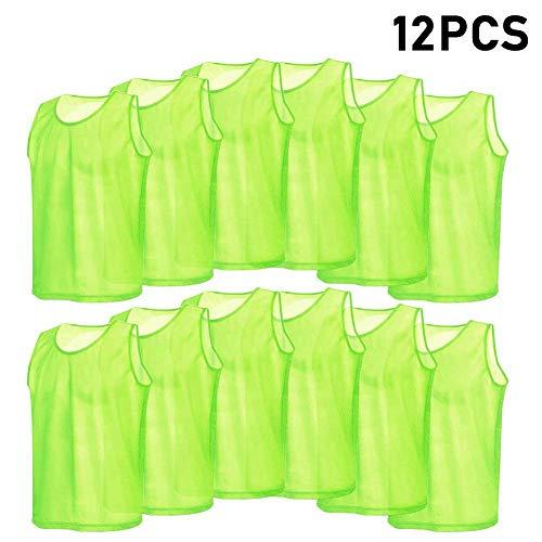 VGEBY 12er Set Erwachsene Fußball Trainingsweste Trainingsleibchen Markierungshemd für Volleyball Fußball Basketball (Farbe : Grün)