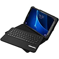 Galaxy Tab A 10.1 Keyboard Case, Jelly Comb Bluetooth Keyboard Case Leather Case with Rechargeable Quiet Keyboard UK Layout QWERTY for Samsung Tab A 10.1, Built-in Battery, Black