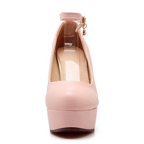 TAOFFEN Damen Classic Closed Toe High Heel Pumps Ankle Strap Buckle Wedding Schuhe Pink