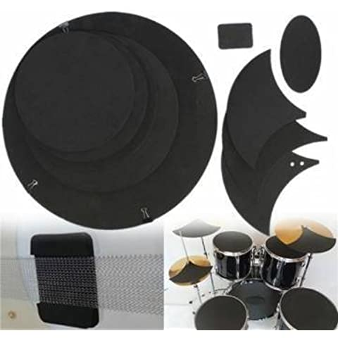 10Pcs Bass Snare Drum Sound off Mute Silencer Drumming Rubber Practice Pad Set by Completestore (Mute Set)
