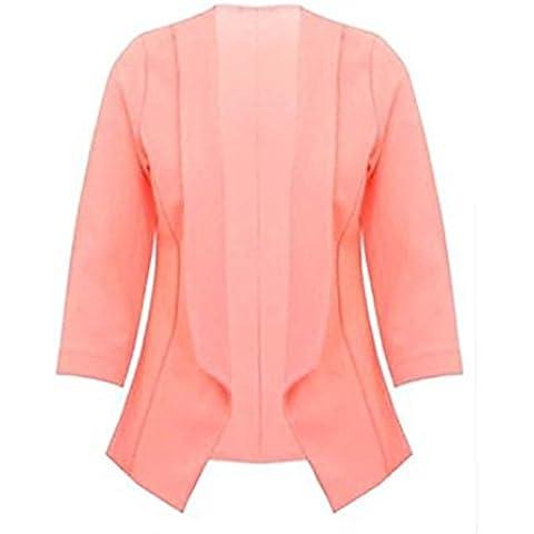 Fashion Essentials-Stretch delle donne 3/4 breve giro manica anteriore aperto del cappotto del collare casuale del rivestimento Blazer
