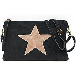 Damen Clutch Wristlet Pochette Bag kleine Handtasche Crossover Stern Star (8029) (schwarz)