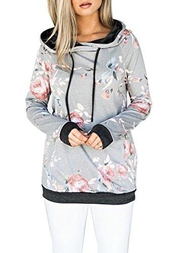 ASSKDAN Damen Blumen Kapuzenpullover Sport Hoodie Sweatshirts Oversize Oberteil Pullover (38, Z-Grau)