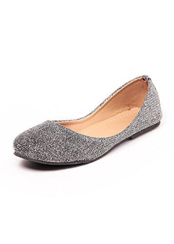 Do Bhai Women's Grey PU Ballerinas -(shimmer belly-Grey-41)7.5 UK