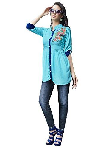 Kurti (J B Fashion Women\'S Rayon Sky Blue Colour Kurta (k2030))