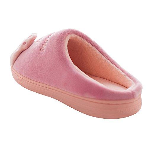 JACKSHIBO Damen Hausschuhe, Herren Winter Warme Pantoffeln Kuschelige Cartoon Cat Plüsch Hausschuhe Home Slippers Rot