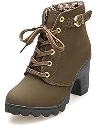 Cingant Woman Damen Boots/Stiefelette/Outdoor Schuhe/Profilsohle/Schnürstiefelette/Camouflage/Olivgrün/Grün, EU 36