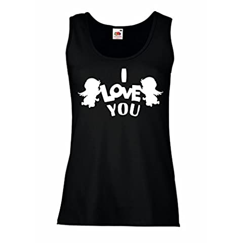 Damen Tank-Top Amorengel sagt: Ich liebe dich Zitate und Sprüche (XX-Large Schwarz Weiß)