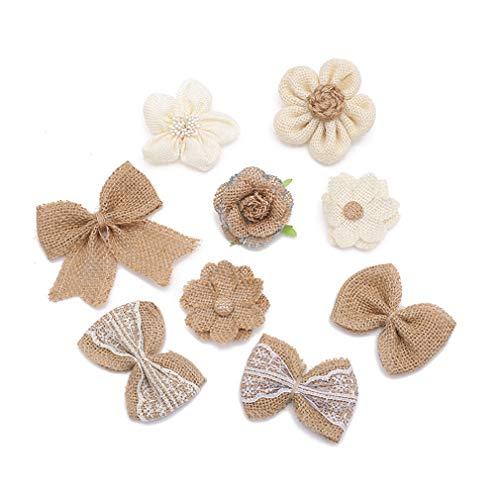 LWANFEI Sackleinen Rose Blumen Bogen Blume Dekoration DIY Hut Kleidung Zubehör für Handwerk Bouquets Party Hochzeit