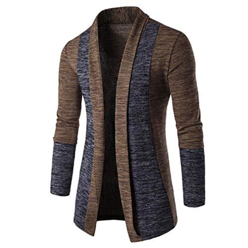 Hombres Prendas de Punto Cárdigan Largo Básico Suéter para Hombres Otoño Invierno Abrigo de Hip Hop Chaqueta Camisa de Entrenamiento (Café,)