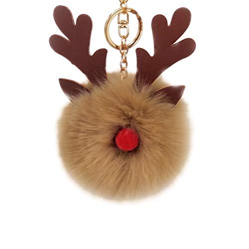 BESTOYARD Weihnachten Schlüsselanhänger Elch Rentier Pom Pom Schlüsselanhänger Tasche Ornament (Khaki) -