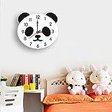 Muium Nuevo Creativos Panda Reloj de Pared de Silencio Acrílico Niños Buena decoración de Habitaciones cocinas