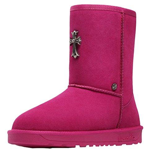 BUYINIAO Bottes femme Bottes de neige Boots de cuir hiverr Rouge