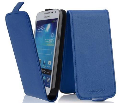 Cadorabo Samsung Galaxy S4 MINI Custodia di Finta-Pelle FLIP LUSCIO in BLU DI PERISA – Protezione in Stile Flip di Similpelle Fine – Portafoglio Cover Case Wallet Book Etui Protezione