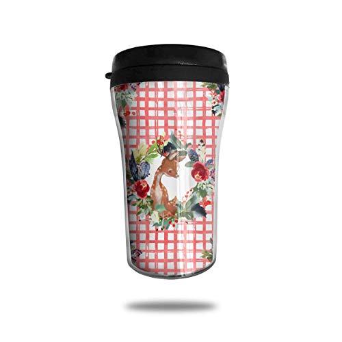 Jxrodekz Classic Travel Mug Deer - Rote Quadrate Isolierter Becher für Kaffee, heiße und kalte Getränke, 8 Unzen, dicht -