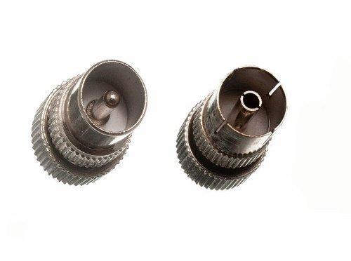 Koax-Koaxial-TV-Antenne Anschlussstecker 2 x 2 x männlich weiblich Metall