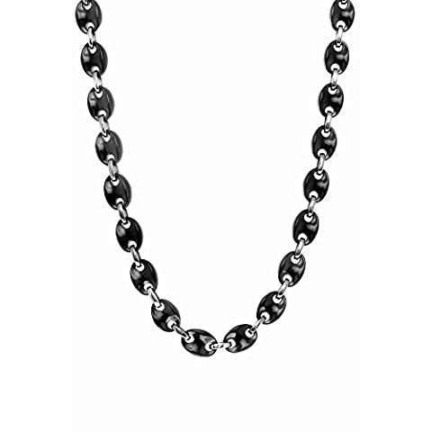 Stls Steel Blk Ceramic Rho. Finish Shiny Alternate Black Puffed Mariner Chain Link Pear Clasp - 46 C