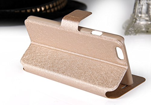 """JewelryWe Luxus PU Leder Wasserdicht Handy Tasche Schutzhülle Hülle Etui Flip Case Cover Schale für Apple iPhone 6(4,7""""), Booktyle, Farbe Schwarz Champagner"""