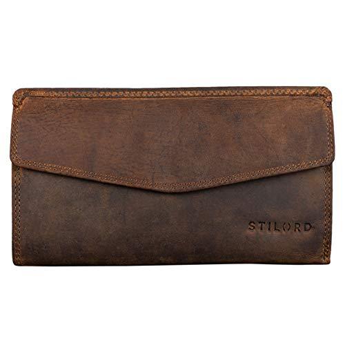 Stilord 'gloria' portafoglio in pelle vera da donna sottile grande con cerniera stile vintage borsellino blocca rfid, colore:marrone medio