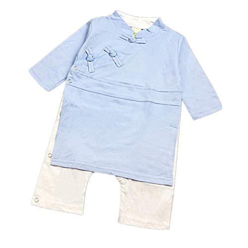 Patifia Neugeborene Baby Spielanzug, Säugling Jungen Mädchen Chinesischer Stil Strampler Traditionelle Kleidung Langarm Taste Bodysuit Jumpsuit Einfarbig Niedlich Overalls -