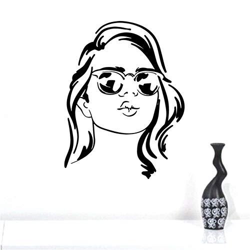 Wandaufkleber Kinderzimmer Wandaufkleber Schlafzimmer Mode Frau Gesicht Mädchen Mit Brille Aufkleber Mädchen Zimmer Wakeup Optisches Schaufenster